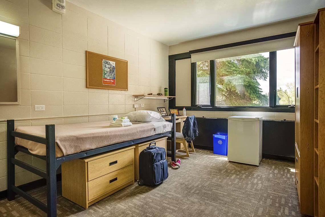 traditional dorm room single at University of Calgary