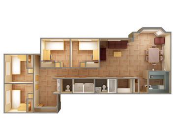 Olympus Hall four bedroom floor plan