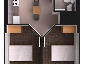 Aurora Hall 2 bedroom floor plan