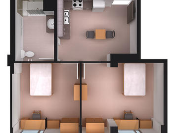 Aurora Hall two bedroom floor plan