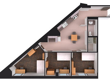 Aurora Hall three bedroom floor plan (corner)