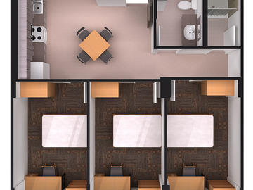 Aurora Hall three bedroom floor plan (non corner)