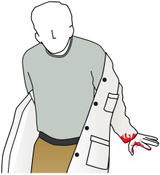 a person taking off a labcoat with blood on it.