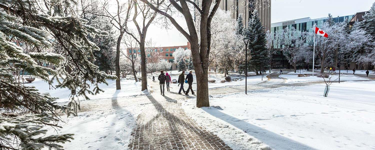 campus in the wintertime