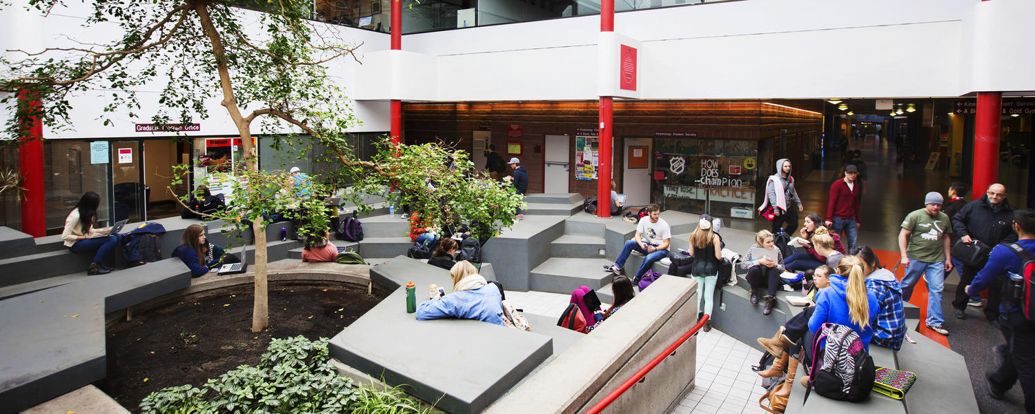 Students in the Kinesiology atrium