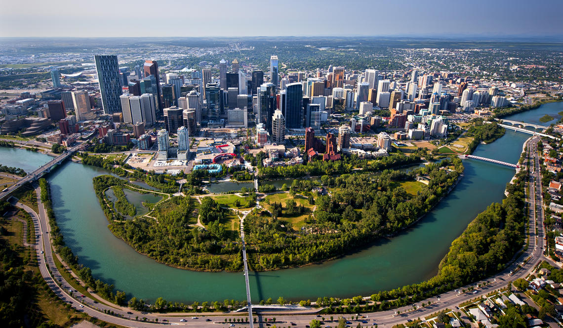 Image of the Calgary Skyline from drone