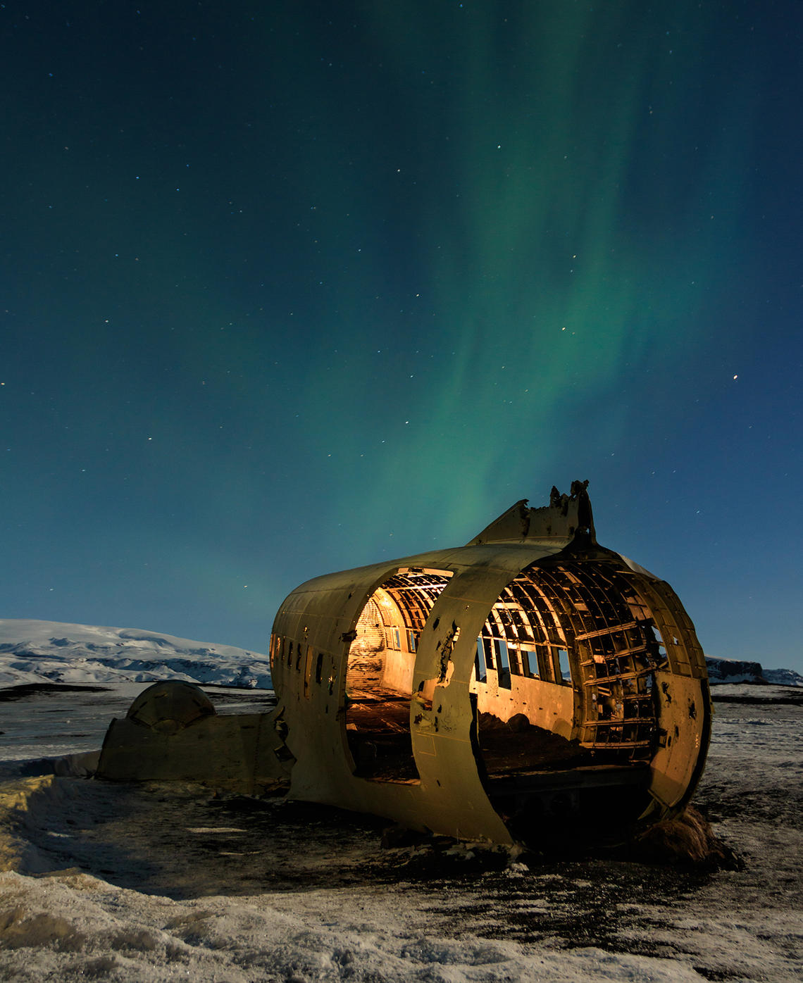 Image taken by student of Northern Lights in Norway over a cabin
