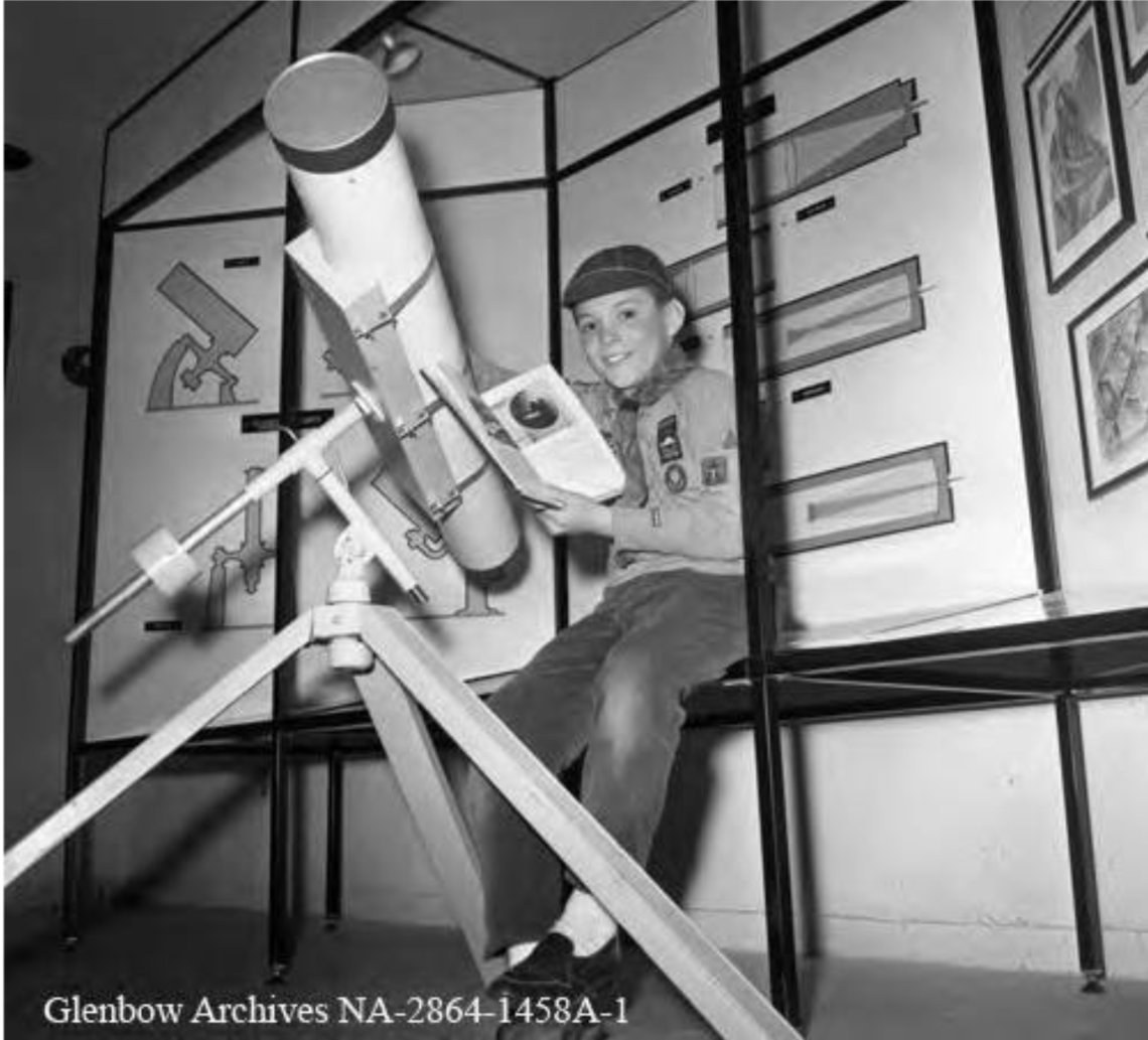 Peter Flett, 100,000th visitor to the Calgary Planetarium, Calgary, Alberta. 1968