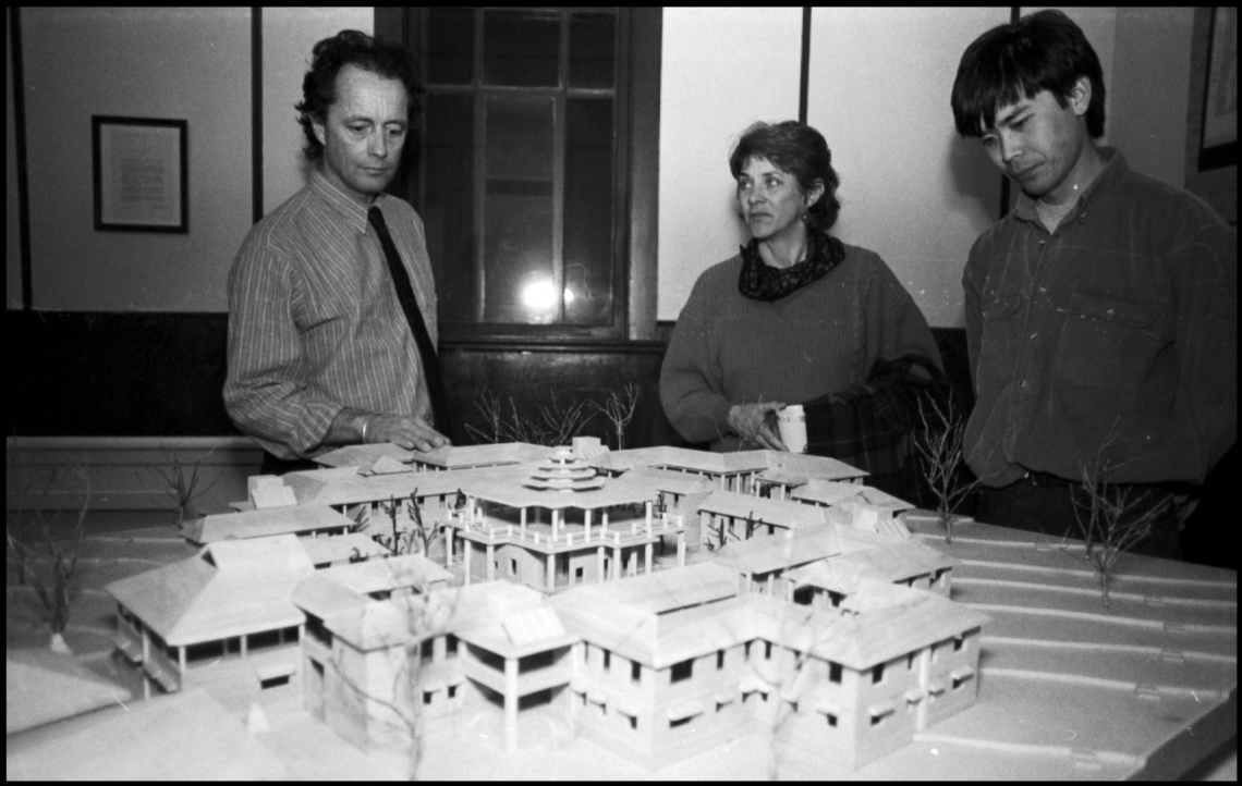 Environmental design graduate Bill Semple with a model of his design of a convent for Buddhist nuns, 1993