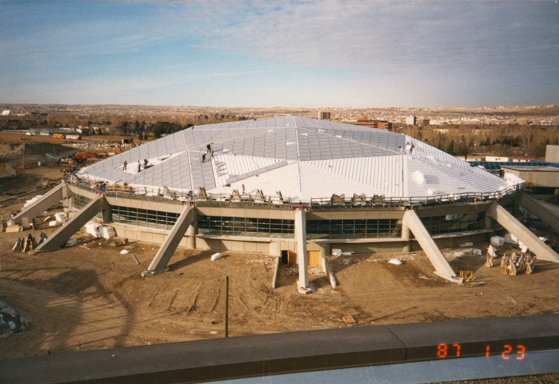 Olympic Oval: aerial views of roofing in progress