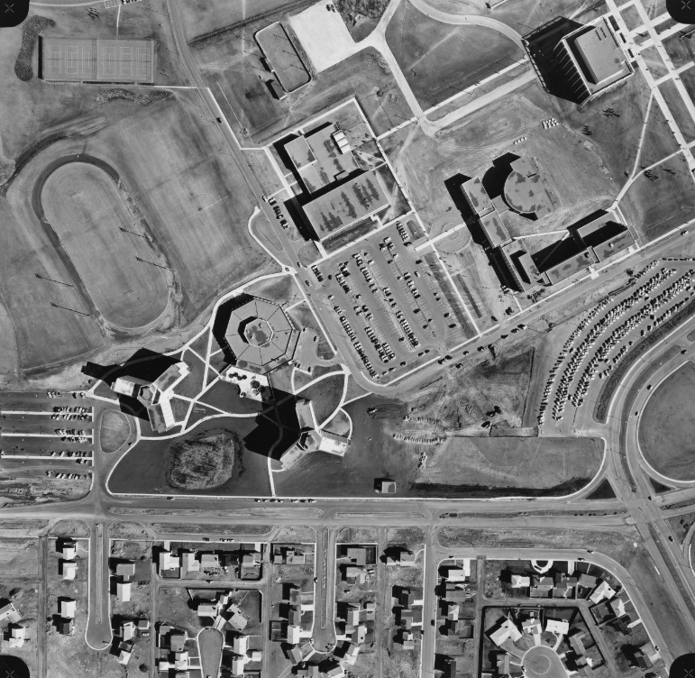 Image of a vertical aerial photograph of the University of Calgary campus showing Rundle and Kananaskis Halls, the Dining Centre, Calgary Hall, Physical Education, and the Library Block.