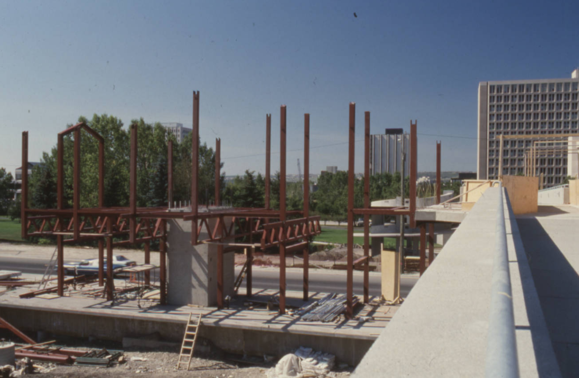 Image of construction of the University LRT Station.