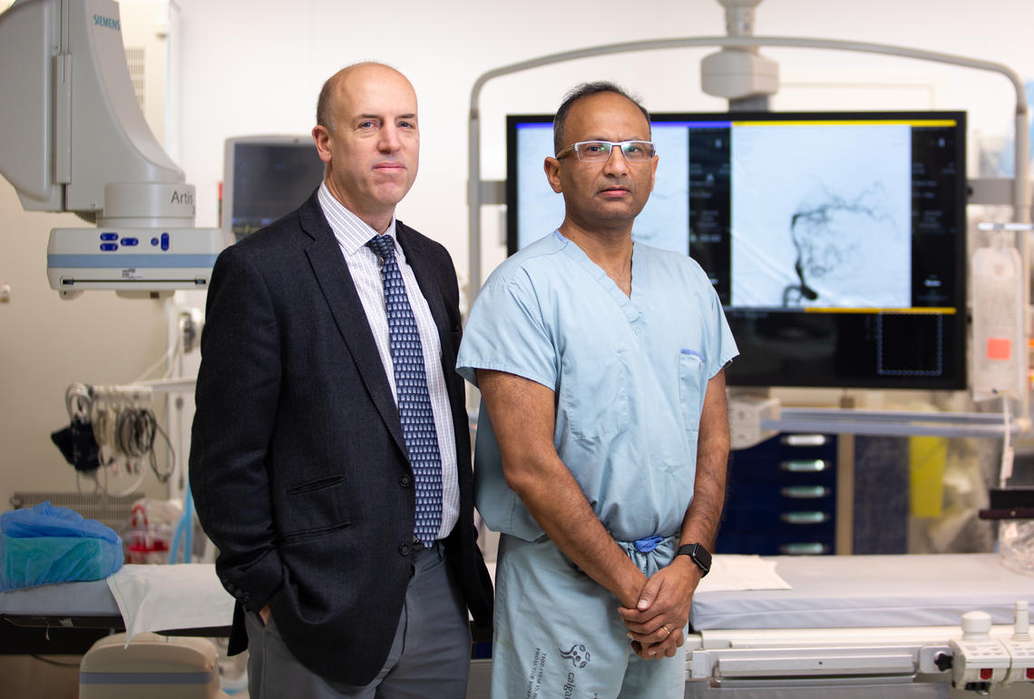 Dr. Michael Hill, MD, a neurologist at the FMC and professor in the departments of Clinical Neurosciences, Radiology, Medicine and Community Health Sciences, and Dr. Mayank Goyal, MD, PhD, a neuroradiologist at the FMC and professor in the departments of Radiology and Clinical Neuroscience