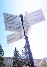 directional signage on campus