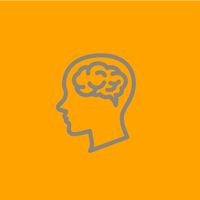 grey outline of a brain on a orange background