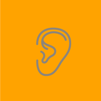 grey outline of an ear on an orange background