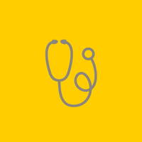 Grey outline of a stethoscope on a yellow background