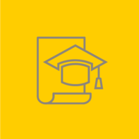 Grey outline of a convocation cap on a yellow background