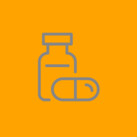 grey outline of a pill bottle on a orange background