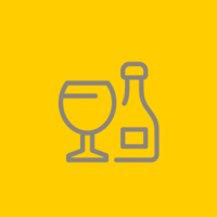 Grey outline of a glass of wine on a yellow background