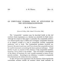 Cover of Turing's paper