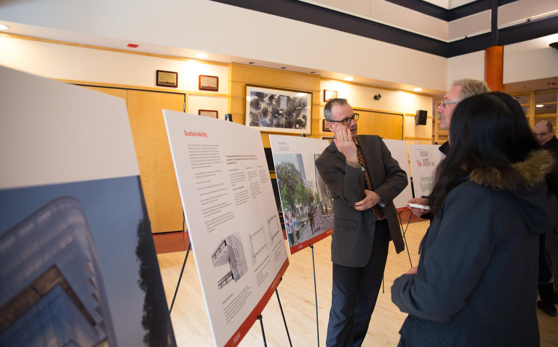 Members of the campus community attended an open house on March 28 where plans for the redeveloped block and tower were unveiled.