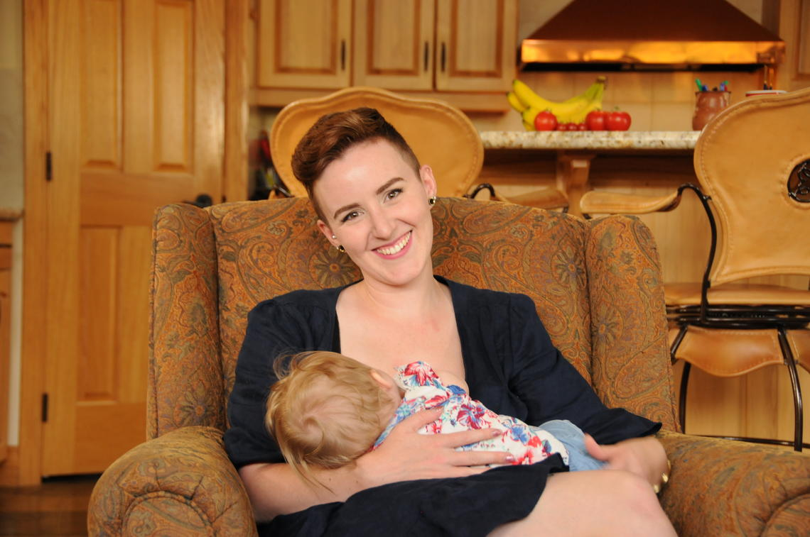 "Heather Gordon is breastfeeding her daughter, Lily, who is seven months old. She is sympathetic to moms who quit breastfeeding because of the many challenges they may face. ""We should not be shaming these moms,"" says Gordon. The WHO's World Breastfeeding Week is Aug. 1-7, 2018."