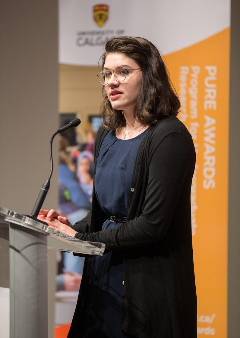 Emilie Medland-Marchen, an honours English student in the Faculty of Arts, speaks at the recent PURE Celebration of Achievement about her experiences doing research as an undergraduate.