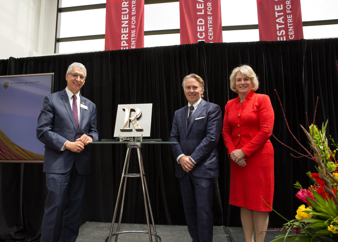 Ronald Mathison with Haskayne Dean Jim Dewald and President Elizabeth Cannon.
