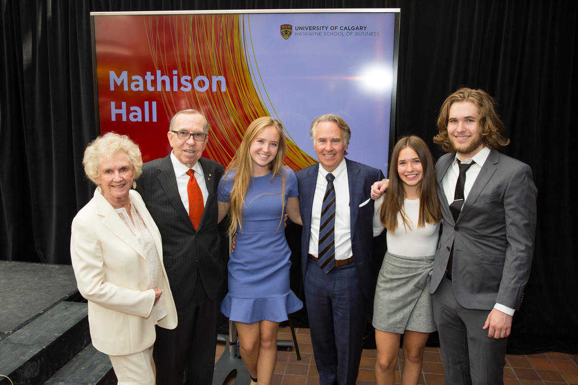 At the donation announcement, From left: Lois Haskayne, Dick Haskayne, Megan Mathison, Ronald P. Mathison, Anna Mathison, and Lucas Mathison.