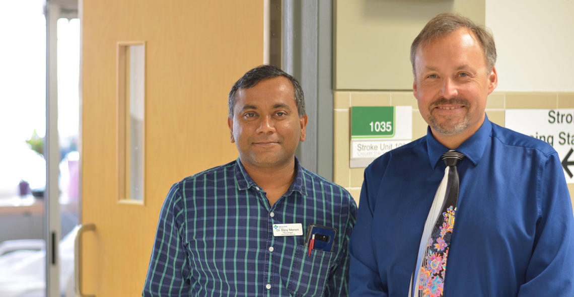 University of Calgary scientists lead an international research study that will help physicians make better treatment decisions for ischemic stroke. From left: Bijoy Menon and Andrew Demchuk.