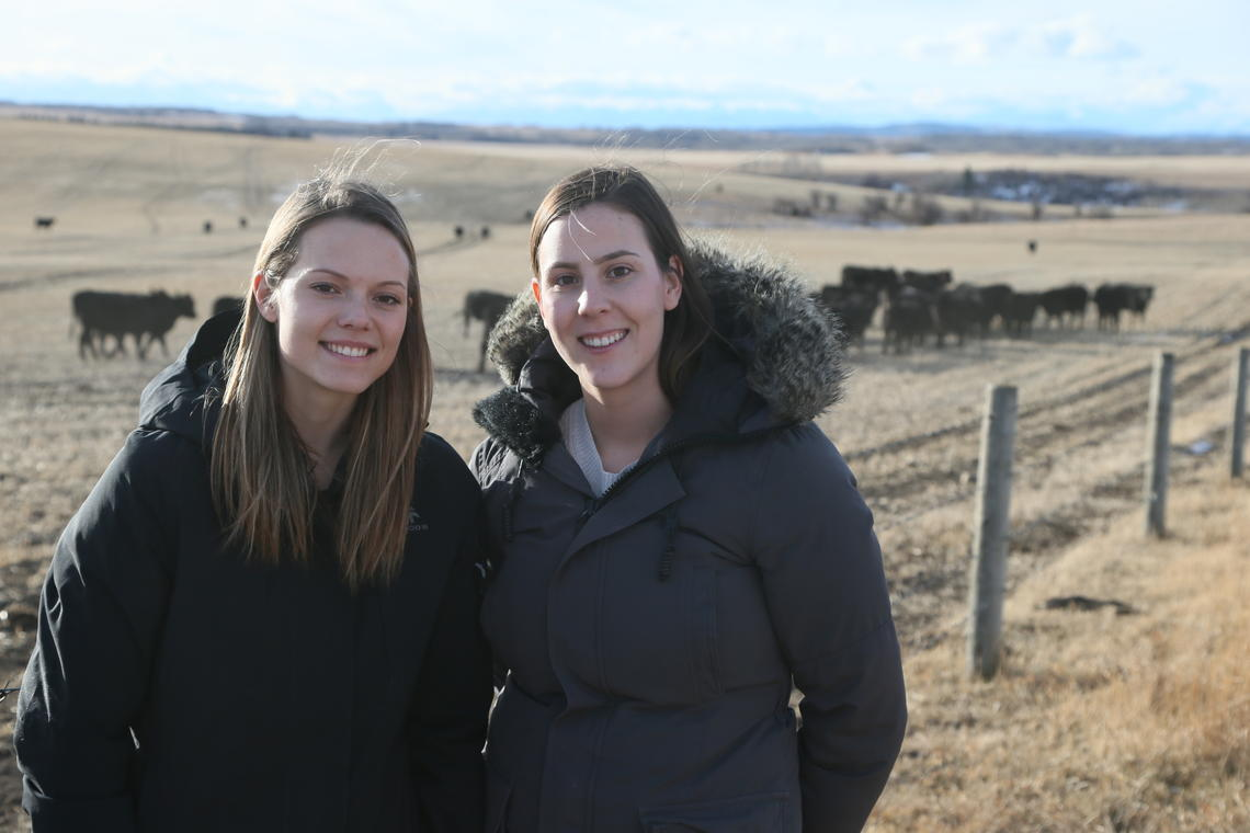 Jackelyn Elgert, left, and Emma Jackson get the lay of the ranch land on their first visit to W.A. Ranches. Photos by Mike Ridewood, for the Faculty of Veterinary Medicine