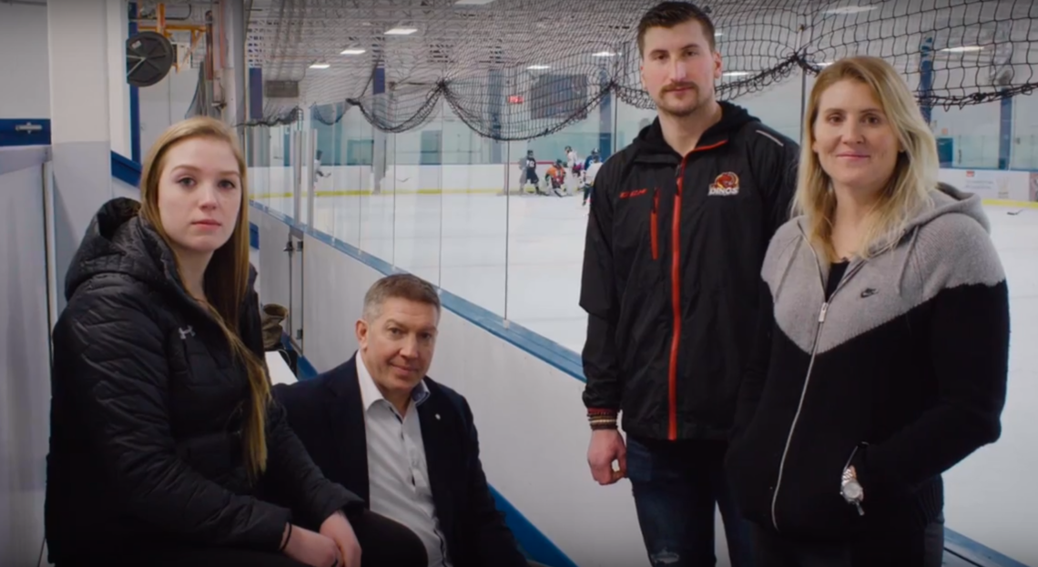 From left: Emma Pincott, Sheldon Kennedy, Dylan Busenius and Hayley Wickenheiser team up to share an important message in support of mental health.