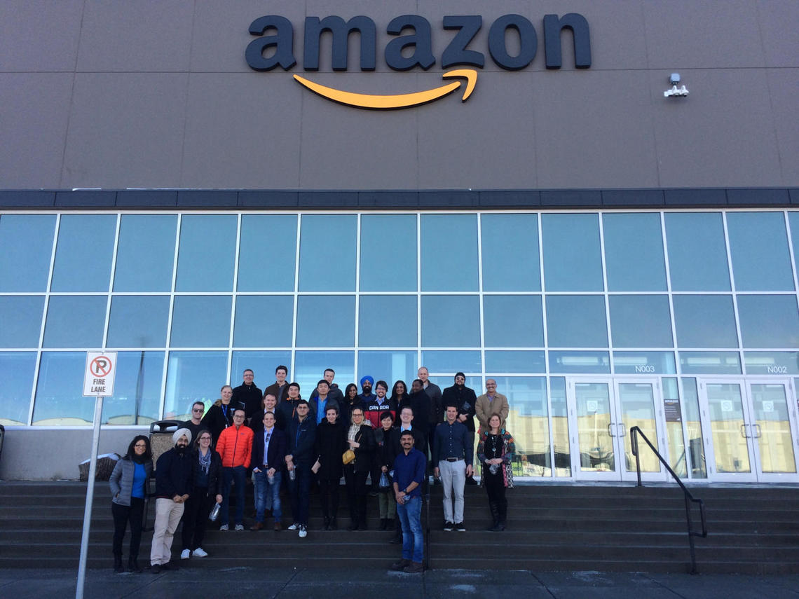 A group of 25 MBA students from the University of Calgary toured the Amazon fulfillment centre, which opened in 2017 near Calgary.