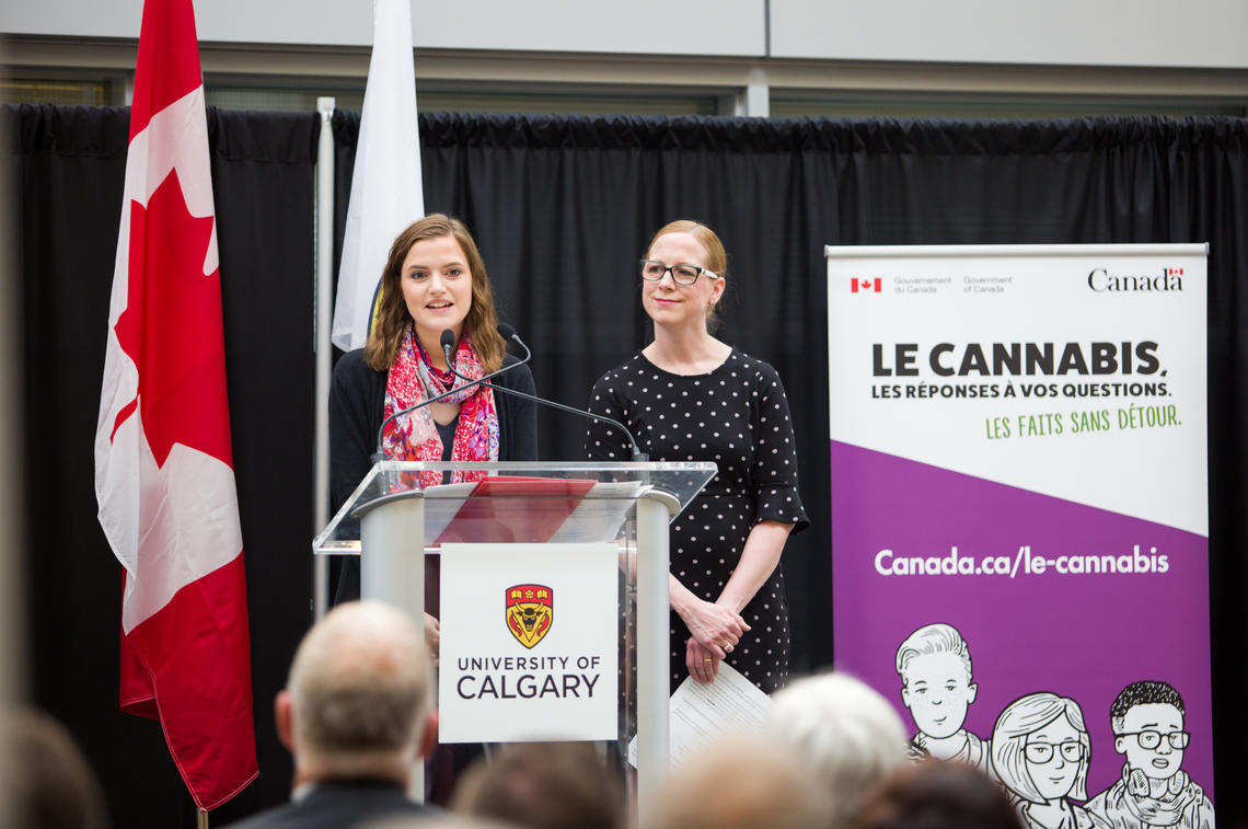 Samantha Baglot, left, University of Calgary graduate student and neuroscience researcher, with Rebecca Haines-Saah, assistant professor at the Cumming School of Medicine.