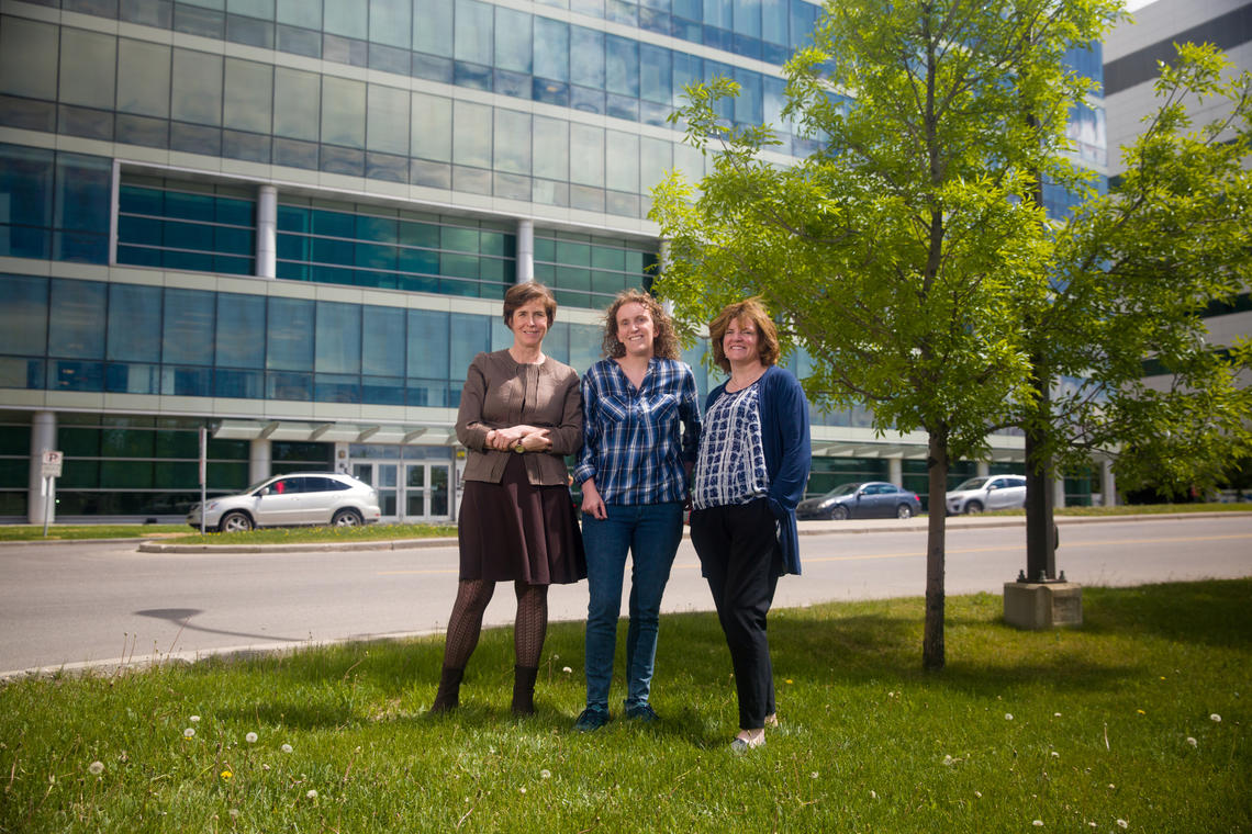 A published study by UCalgary researchers, from left: Melanie Rock, Niamh Caffrey and Sylvia Checkley, examines dog bite incidents with an eye to preventing them.