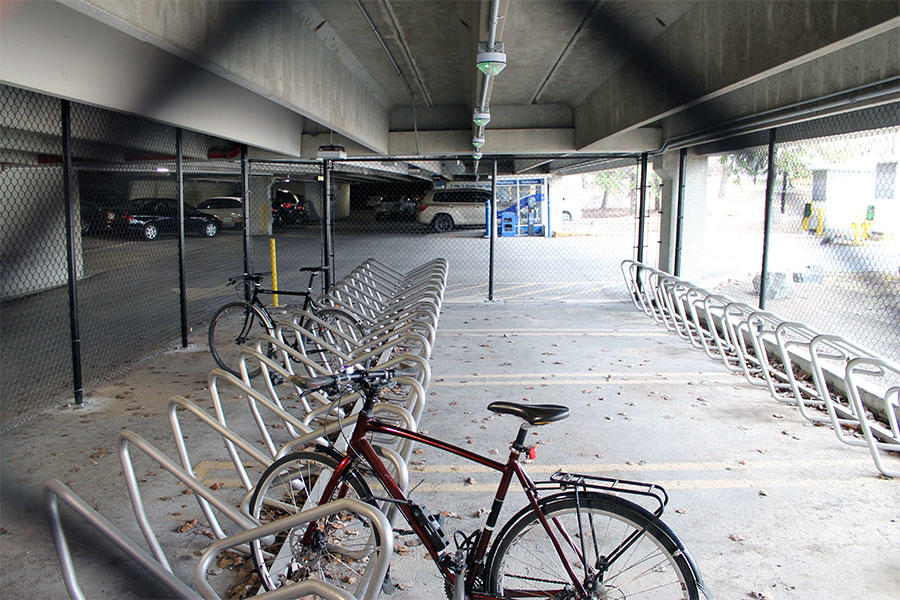 The bike compound is accessible from a pedestrian entrance on the east side.