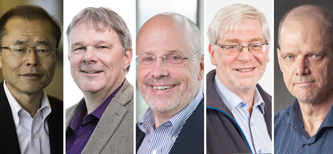 Five faculty members are the 2019 recipients of University of Calgary Killam Annual Professorships. From left: Hude Quan, Herman Barkema, Keith Yeates, Nigel Bankes, and Warren Piers.