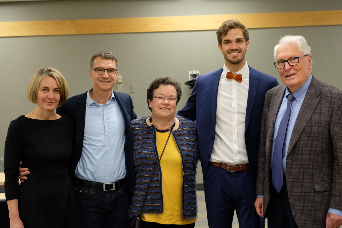 A group shot commemorates Maurice Mohr's PhD defense. From left: his step-mother Joanna Weihrauch-Mohr, father Bernhard Mohr, mother Christine Mohr, Maurice, and his supervisor Benno Nigg.