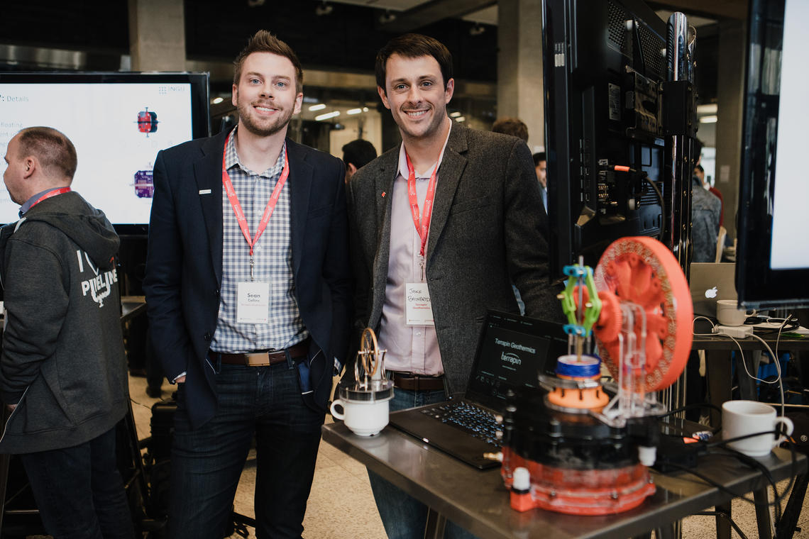 Terrapin graduated from the first cohort of Creative Destruction Lab Rockies and has active projects in Alberta converting industrial waste heat to power and in geothermal energy. Terrapin's Sean Collins, left, and Jake Bainbridge showcase their technology at Tech Demo Day 2018.