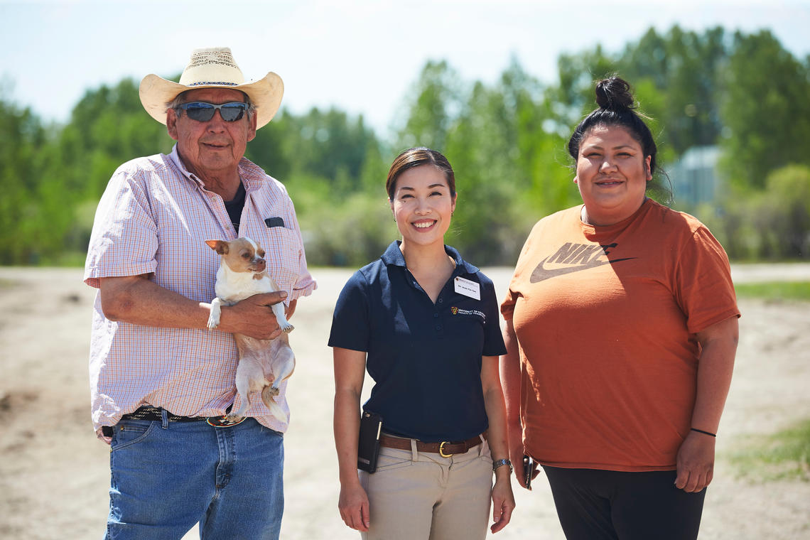 Marvin Dodginghorse, left, Jean-Yin Tan, and Julie Dodginghorse at a recent equine health rotation at the Tsuut'ina Nation.