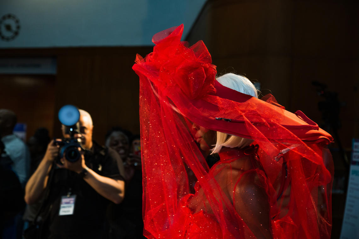 A model shows off a wearable tech garment in the sold-out Project Brookdale runway show