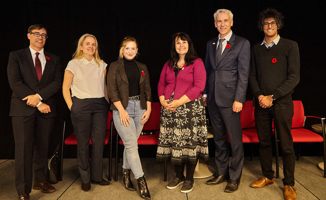 Mathison Centre director Paul Arnold stands along  Gina Dimitropoulos, Katelyn Greer, Fiona Haynes, Scott Patten & Qasim Hirani.