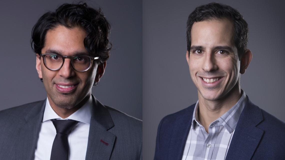 Aleem Bharwani and Gabriel Fabreau are two members of MEOC, a physician pandemic response plan developed to help Calgary hospitals cope with COVID-19.