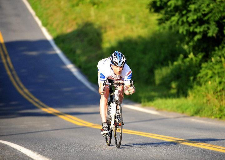 Peter McCrory cycling in the 3000 mile Race Across America