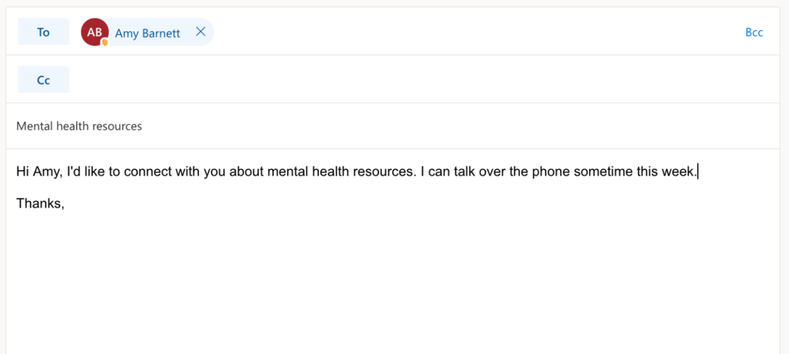 E-mail template for Mental Health Consultant