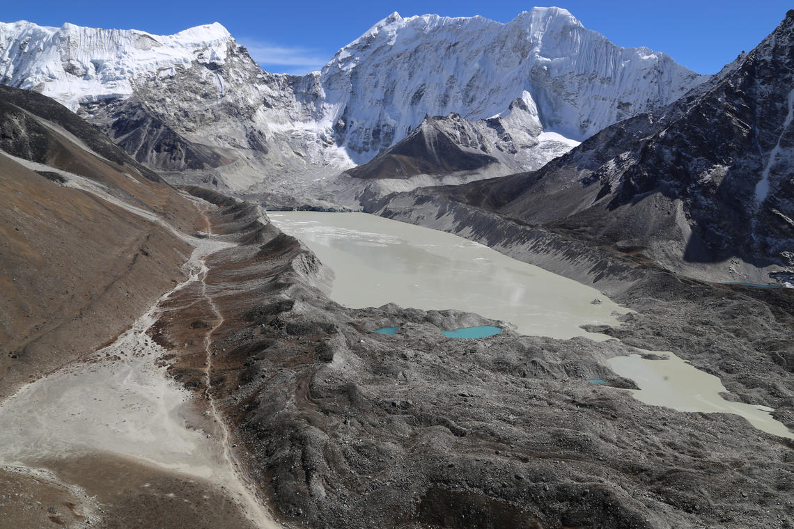 A proglacial (in front of the glacier) lake at Imja Glacier, Nepal.