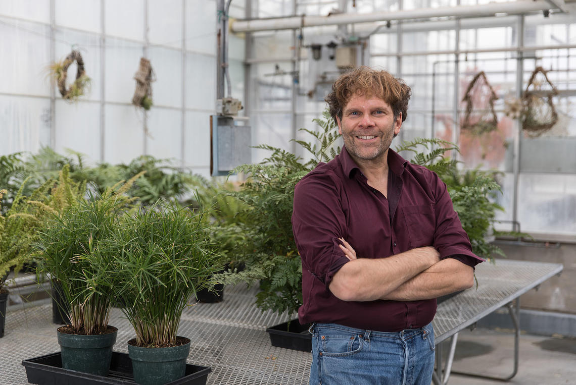 Peter Facchini stands in the greenhouse in the Faculty of Science