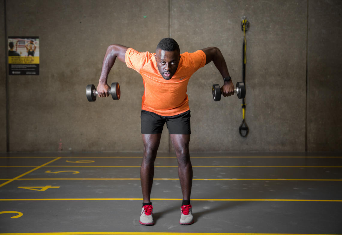 Sam Effah demonstrating the Bent-Over Row