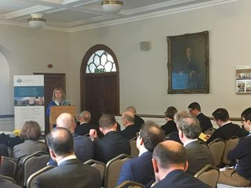 Her Excellency Janice Charette, Canada's High Commissioner to the UK, addressing attendees at Shoulder to Shoulder conference.